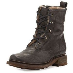 Frye Valerie Lace Up Shearling Boots 8.5